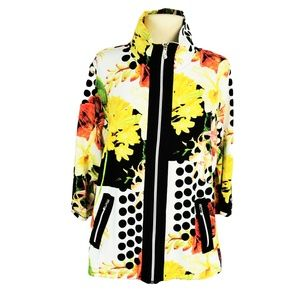 Onque Casuals XL Zip Front Floral Jacket Bling